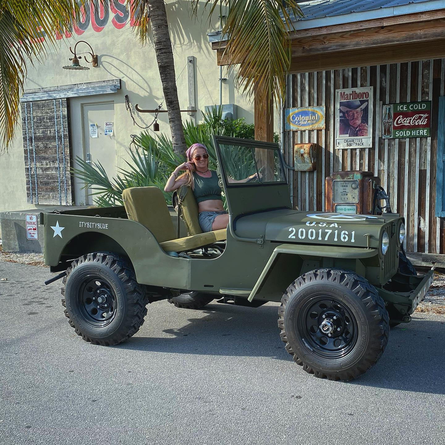 Christina in her Willy's Jeep