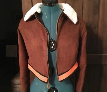 The Bomber Jacket for Yang, displayed on a dress form.