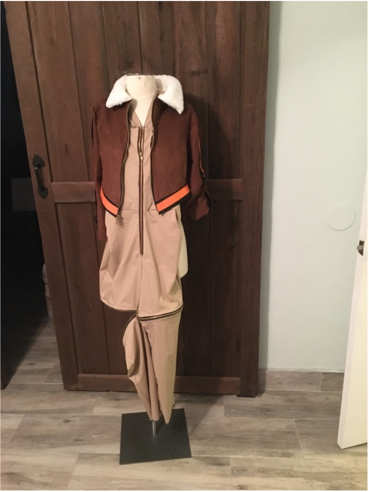 Jacket and Overalls Assembled on the Dress Form