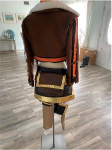 Back view of assembled costume, featuring belt bag